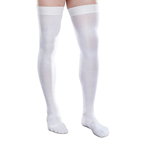 Therafirm Core-Spun 20-30mmHg Moderate Graduated Compression Support Thigh High Socks (White, Medium Short)