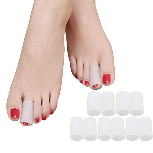 Povihome Toe Sleeves, Toe Protectors, 10 Pack Toe Tube Pads for Hammer Toe,Stubbed Toe,Corns, Calluses Protect