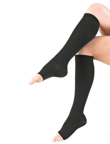 NEO G Knee High Compression Hosiery (Open Toe) - Large - Black - Medical Grade True Graduated Compression 20-30mmHg Helps Reduce Symptoms of Tired, Aching Legs, mild Oedema (Edema) & Swelling