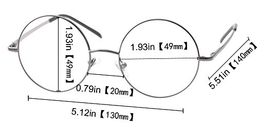 SOOLALA 2 Pairs Men Unisex Retro Classic Round Reading Glasses Circle Reader with Spring Hinge, BlackGray, 1.25x