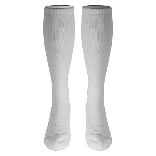 Truform Men's 15-20 mmHg Knee High Cushioned Athletic Support Compression Socks, White, Large (Pack of 2)