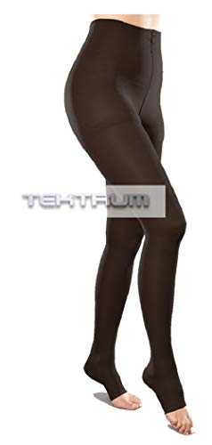 Tektrum Waist High Firm Graduated Compression Pantyhose Medical Stockings 23-32mmhg for Men and Women - Open Toe (Large US/X-Large EU, Black)