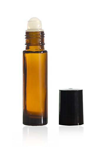 10 ml (1/3 oz) Amber Glass Roll on Bottle W/Ball & Caps (36)