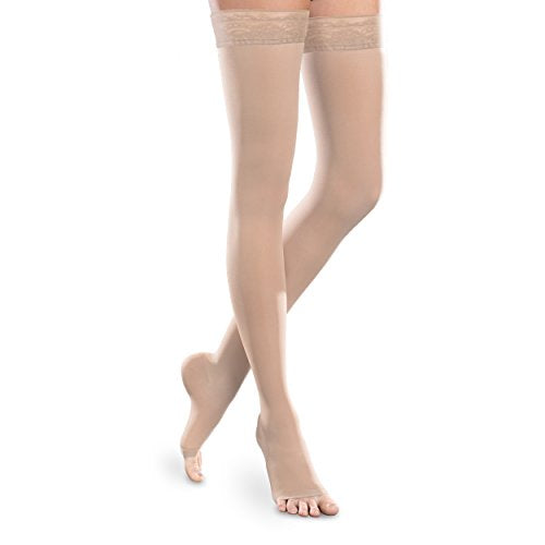 Sheer Ease Women's Open-Toe Thigh High Stockings - 20-30mmHg Moderate Compression Nylons (Natural, Medium Long)