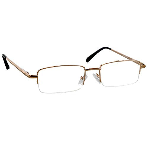 Reading Glasses 2.0 Gold Single Pair for Men and Women Stylish Look Crystal Clear Vision When You Need It! Comfort Spring Arms & Dura-Tight Screws