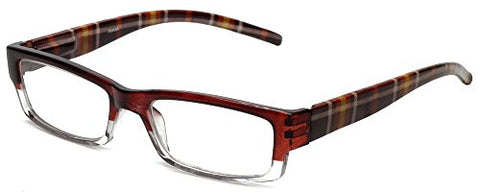 Calabria 743 Designer Reading Glasses w/Matching Case in Brown Plaid +5