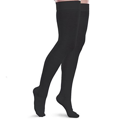 Therafirm Core-Spun 15-20mmHg Mild Graduated Compression Support Thigh High Socks (Black, Medium Long)
