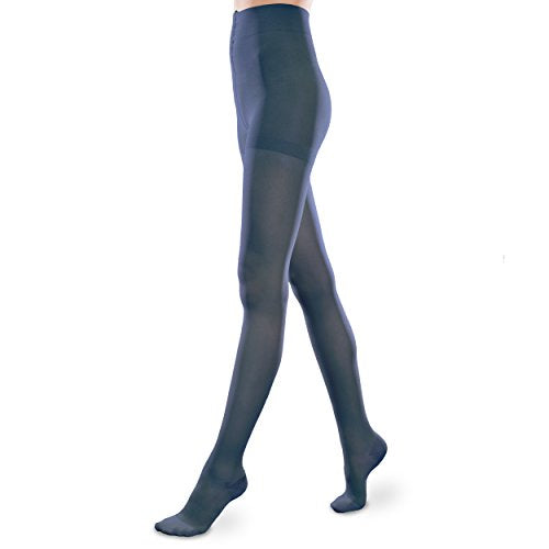 Sheer Ease Women's Support Pantyhose - 20-30mmHg Moderate Compression Stockings (Navy, Medium Long)