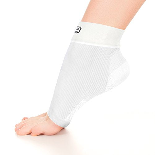 Go2 Plantar Fasciitis Socks|Best Ankle Compression Brace 22-25 mmHg|Arch Support Joint Heel Pain Relief|Foot Sleeves for Women and Men Reduce Swelling|Relieve Achilles Tendonitis(Solid White,Large)