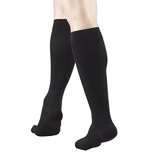 Truform Short Length 20-30 mmHg Compression Stockings for Men and Women, Reduced Length, Closed Toe, Black, Medium