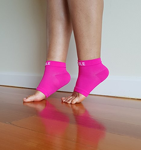 Plantar Fasciitis Compression Socks - Foot Care Sleeves - BeVisible Sports - Best for Heel, Arch & Ankle Brace Support - Boosts Circulation, Aids Relief & Fast Recovery - (Neon Pink, Large)