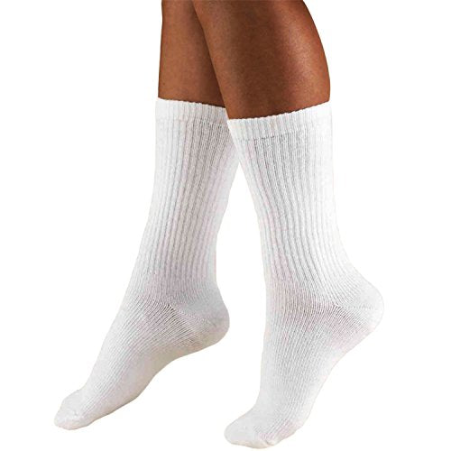 Truform  15-20  Men  Athletic Crew Sock, Large, White (Pack of 2)