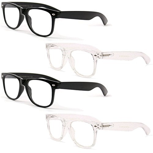 4 Pairs Reading Glasses - Comfortable Stylish Simple Readers Rx Magnification - Anti-Reflective AR Coating (2 Black 2 Clear, 2.50)