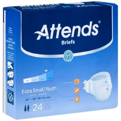 Attends Breathable Fitted Briefs w/ Flex Tabs, Size Small, Extra Absorbency, (1 bag of 24)