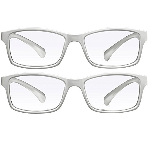 Computer Reading Glasses 2.75 White 2 Pack Protect Your Eyes Against Eye Strain, Fatigue and Dry Eyes from Digital Gear with Anti Blue Light, Anti UV, Anti Glare, and are Anti Reflective