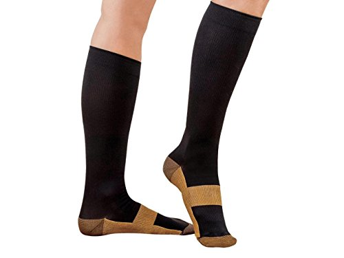 2 Pair Black/Gold Sm/Med - TASOM Compression Copper Socks Over the Calf Below Knee Anti Fatigue Antimicrobial Sock For Men's Woman's Foot Feet Ankle Heel Pain Ache Swelling Relief Support Stockings