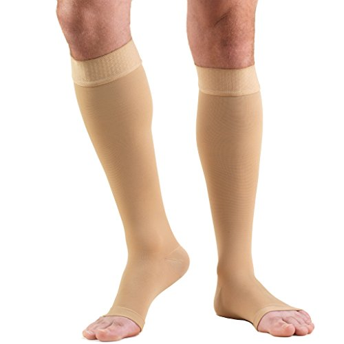 Truform 20-30 mmHg Compression Stockings for Men and Women, Knee High Length, Dot-Top, Open Toe, Beige, 3X-Large