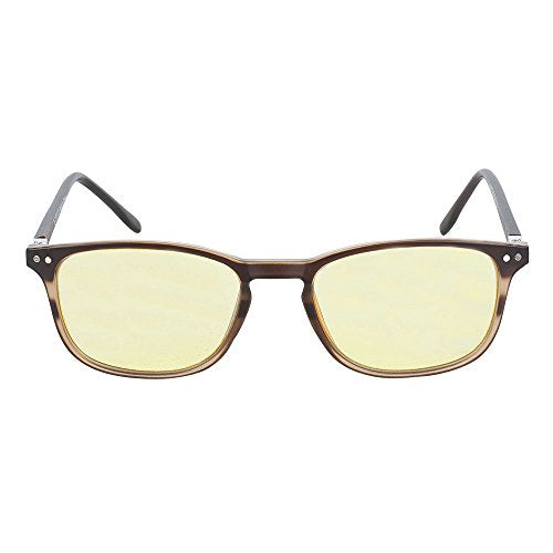 Computer Lens Glasses - Yellow Tinted Lenses with Blue Anti Reflective Coating to Reduce Eye Strain and Screen and Monitor Glare - Bonus Case and Cleaning Cloth - Brown - by Optix 56