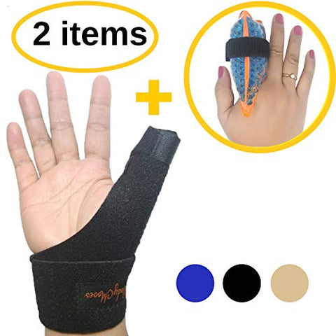 BodyMoves New Thumb Splint Brace Plus Finger Hot and Cold Gel Pack- tenosynovitis, Tendonitis, Trigger Thumb spica,Carpal Tunnel, CMC Adjustable wrist and Reversible Left Right Hand (Midnight Black)
