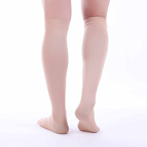 Doc Miller Premium Open Toe Compression Socks 1 Pair 30-40mmHg Medical Grade Support Graduated Pressure Recovery Circulation Varicose Spider Veins Airplane Maternity Stockings (Skin/Nude, Large)