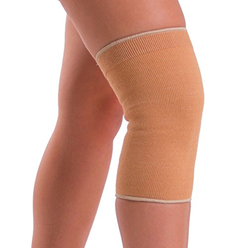 BraceAbility Elastic Slip-on Knee Sleeve | Cotton Fabric Knee Pain Compression Bandage for Stretchy, Lightweight & Comfortable Support (XL)