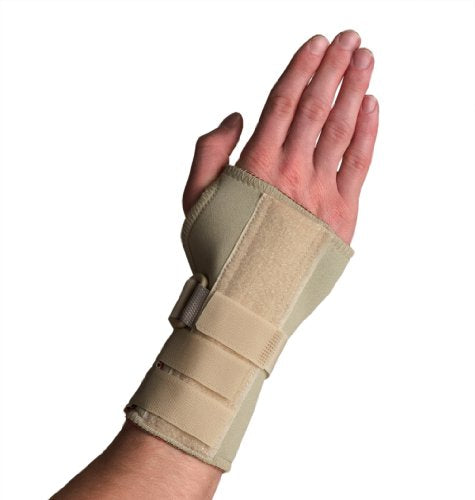 Thermoskin Wrist Brace, Hand Brace, Carpal Tunnel Brace with Dorsal Stay, Beige, Right, Large