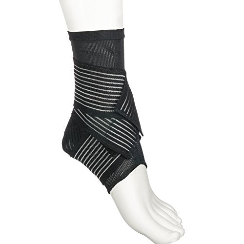 Active Ankle 329 Ankle Brace, Ankle Compression Sleeve with Straps for Men & Women, Braces for Volleyball, Football, Basketball, Rugby, Protection & Sprain Support, Black, Medium