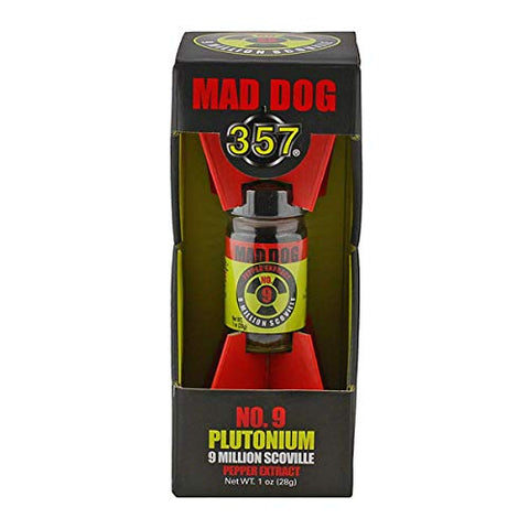 Mad Dog 357 No. 9 Plutonium 9 Million Scoville Pepper Extract with jar of Mad Dog 357 Yellow Cake - 1.6M Capsicum Powder
