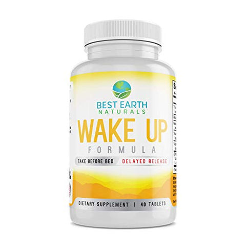 Wake Up Formula, Supplement Taken at Bedtime and Works While You Sleep for Delayed Time Release Energy in Morning. Alternative to Coffee and Morning Alarm Clock 40 Count