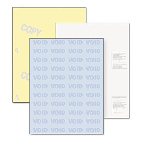 Paris Standard Medical Security Paper, Blue/Canary, 6 Features, 8 1/2 X 11, 250 Sets