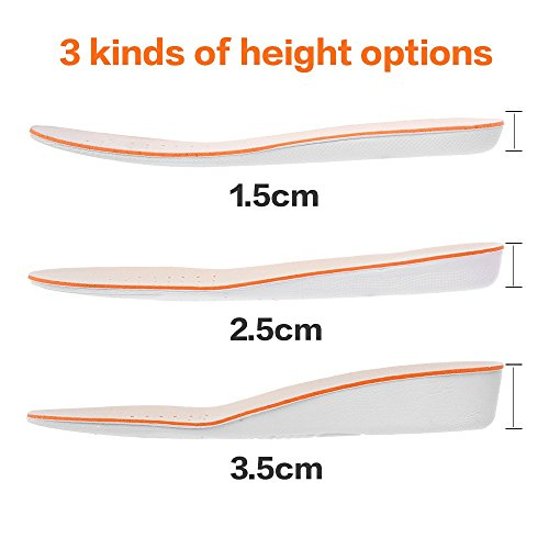 xxin Height Increase Insole 1_5cm/2_5cm/3_5cm Breathable High Full Shoe Insoles Shoe Inserts Cushion Pads Lift Kits Elevator Insoles for Men Women White 3.5cm US8-12)