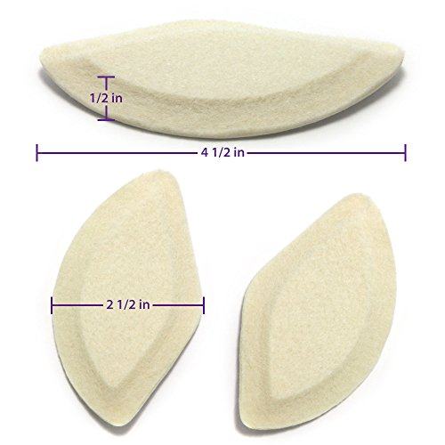 Premium Felt Foot Arch Support Pads - Shoe Inserts - 3 Pairs - 1/4""