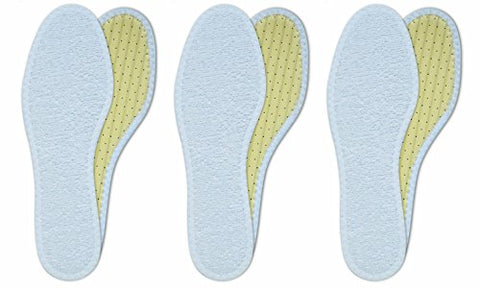 Lenzen 3 Pairs Washable Cotton Terry Shoe Insoles I Breathable Barefoot Insole I Inserts with Activated Carbon (US W12/M9/EU 42)