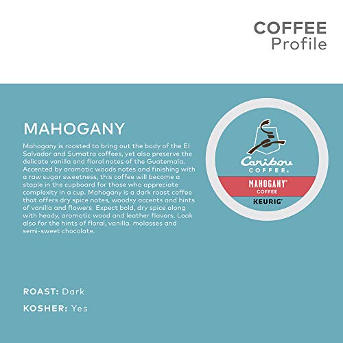 Caribou Coffee Mahogany, Single Serve Keurig K Cup Pods, Dark Roast Coffee, 96 Count