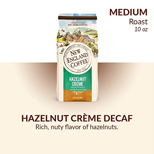 New England Coffee Hazelnut Creme, Decaffeinated Medium Roast Ground Coffee, 10 Ounce Bag