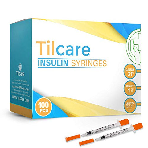 Tilcare Ultra Fine Insulin Syringes with Needle 31 G 1 cc 8mm 5/16