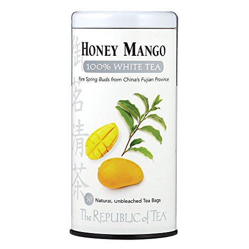The Republic of Tea Honey Mango 100% White Tea, 50 Tea Bag Tin