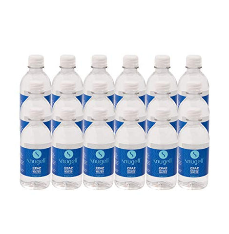 Distilled Water for CPAP Humidifiers by Snugell | 24 Bottle Pack 12oz H20 | Travel Friendly | 12oz H2O | Made in USA |