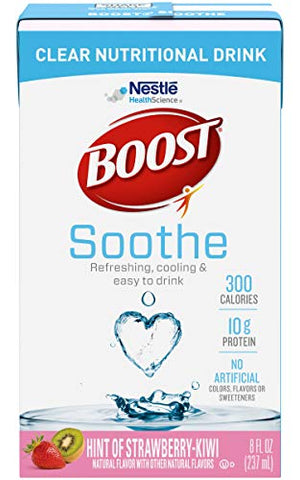 Boost Soothe Clear Nutritional Drink, Hint of Strawberry Kiwi - No Artificial Colors, Flavors or Sweeteners - 8 FL OZ (Pack of 6)