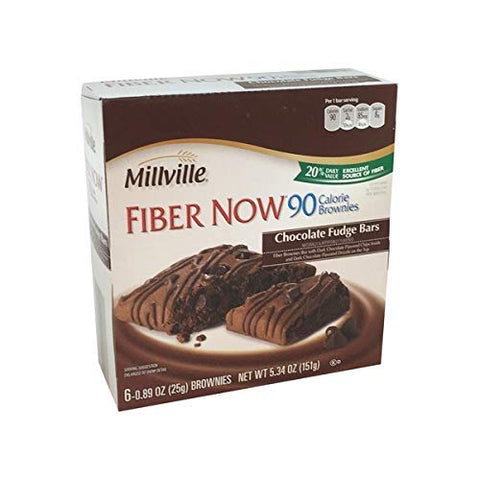 Millville Fiber Now 90 Calorie Fiber Brownies Fudge Bar with Dark Chocolate Chips Inside and Dark Chocolate Drizzle - 6 ct.
