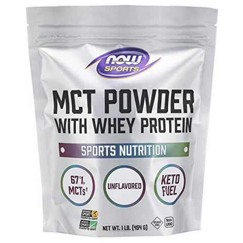 NOW Sports Nutrition, MCT Powder With Whey Protein Isolate, 67% MCTs, Unflavored Powder, 1-Pound