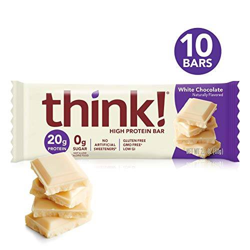 think! (thinkThin) High Protein Bars - White Chocolate, 20g Protein, 0g Sugar, No Artificial Sweeteners, Gluten Free, GMO Free, 2.1 oz bar (10 Count - packaging may vary)
