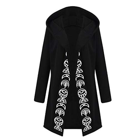 KYLEON Women's Coat Punk Letter Print Hooded Sweatshirt Black Oversized Cardigan Jacket Long Coat Overcoat Plus Size S-5XL