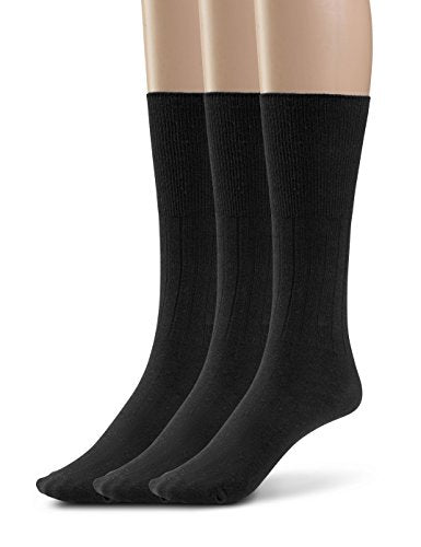Silky Toes 3 or 6 Pk Men's Diabetic Non-Binding Cotton Dress Socks, Multi Colors Also Available in Plus Sizes... (13-15, Black - 3 Pairs)