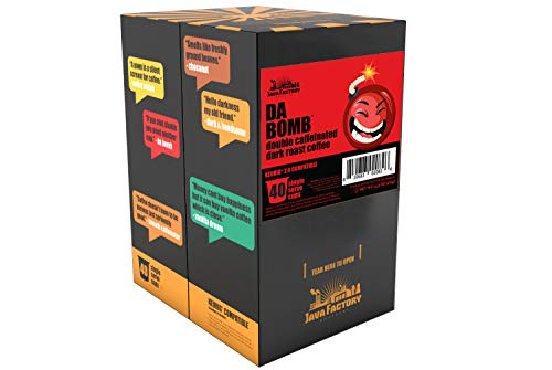 Java Factory Single Cup Coffee for Keurig K Cup Brewers, Da Bomb Extra Bold Double Caffeinated, 40 Count