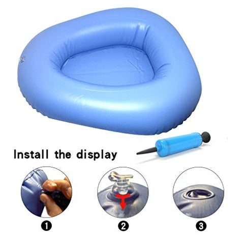 KIKIGOAL Bigger Washable Portable Air Inflation Blue Bed Pan Bedridden Elderly Inflatable Stool Bedsore Toilet