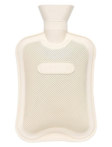 HomeTop Premium Classic Rubber Hot Water Bottle, Great for Pain Relief, Hot and Cold Therapy (2 Liters, Cream White)