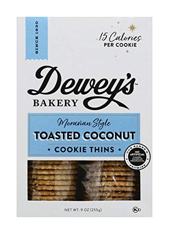 Dewey's Bakery Moravian Style Cookie Thins, Toasted Coconut, 9 oz