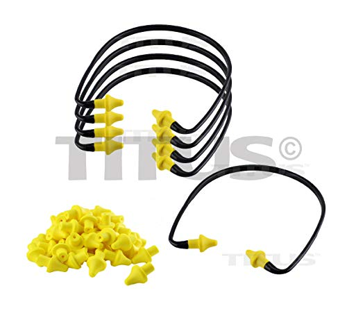 Titus U-Band - Over Ear Reuseable Banded Ear Plugs (22 Decibel, 5 Bands, 50 Replacement Plugs)