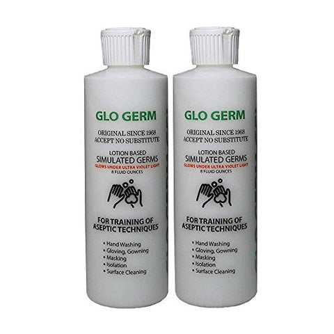 Glo Germ Gel 8 Ounce Two Pack Double Pack Glo Germ Gel (16 oz) - Gel Lotion Based Simulated Germs - Helps Promote Better Hand Washing Habits - Training for Aseptic Techniques - Two Pack